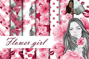 Flower girl digital paper