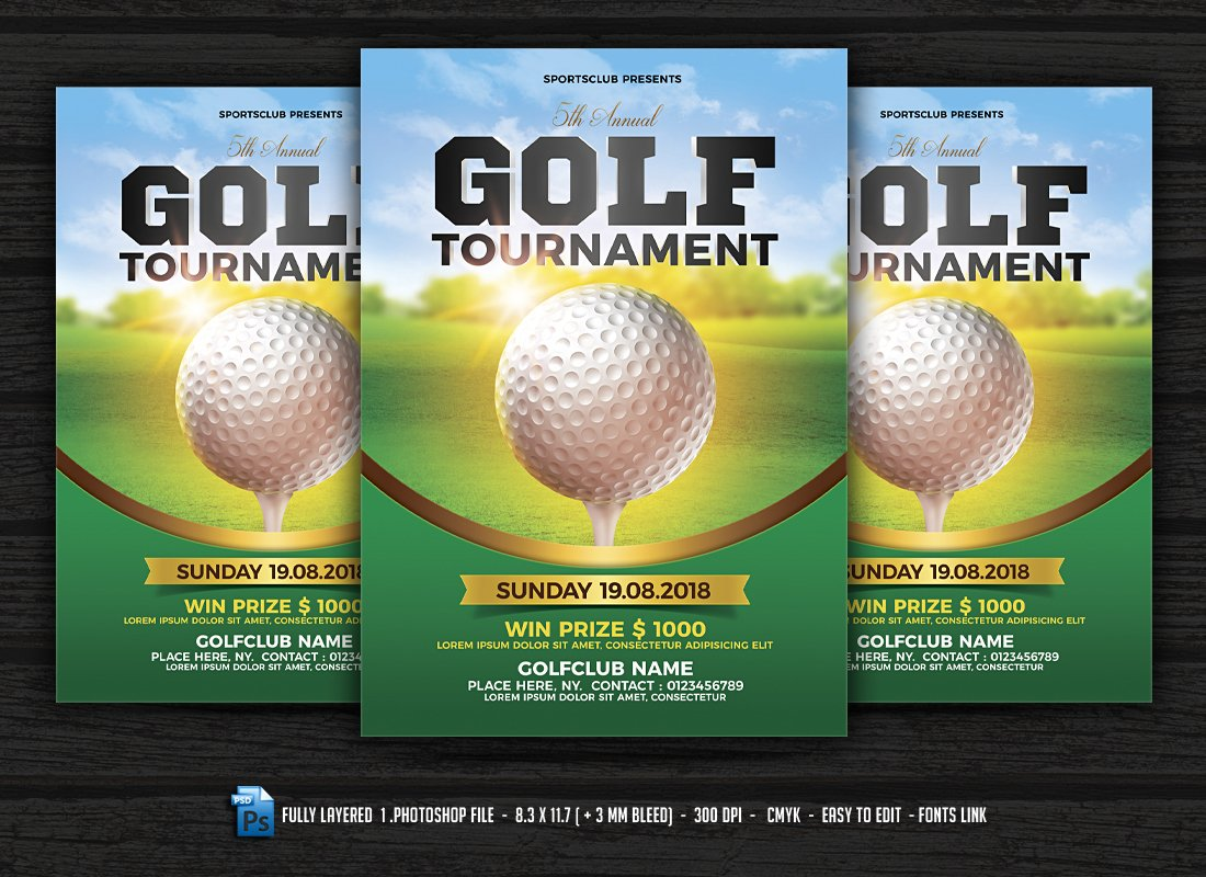 golf tournament flyer flyer templates creative market. Black Bedroom Furniture Sets. Home Design Ideas