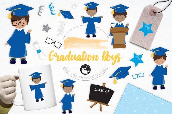 Graduation Boys illustration pack