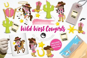 Wild West Cowgirls illustration pack