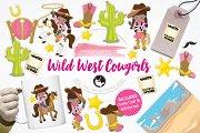 Wild West Cowgirls illustration pack