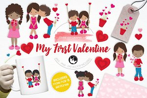 My First Valentine illustration pack