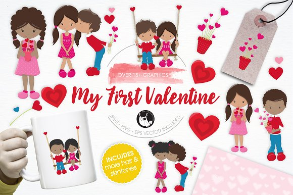 My First Valentine illustration pack