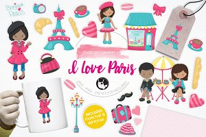 I Love Paris illustration pack