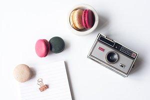 Vintage Camera & Macarons