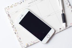 iphone & Macaron Desktop Flatlay