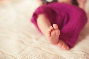 Baby feet closeup