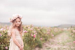 Kid girl in meadow