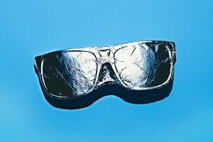 Glasses in aluminum foil. Stillife