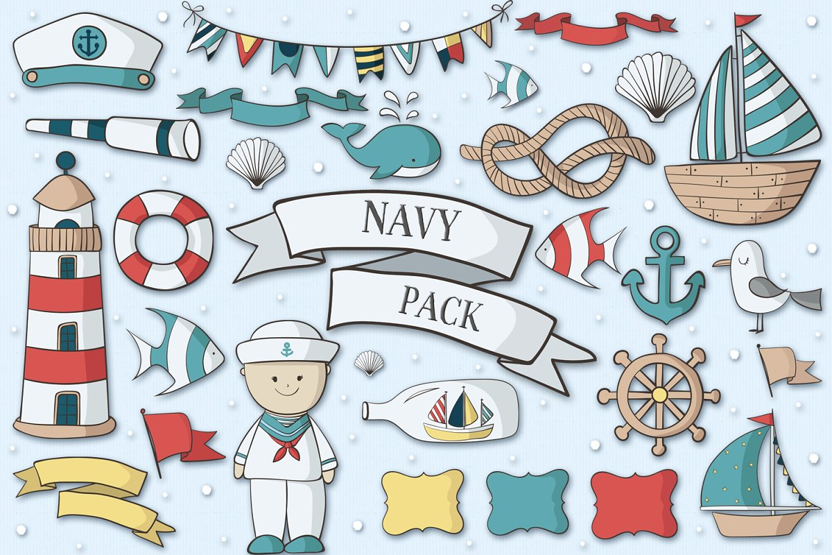 Navy Pack in Illustrations - product preview 8