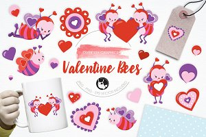 Valentine Bees illustration pack