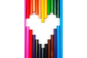 Concept of love shaped with pencils