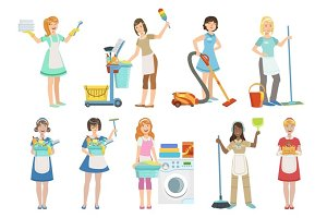 Hotel Professional Maids With Cleaning Equipment Set Of Illustrations