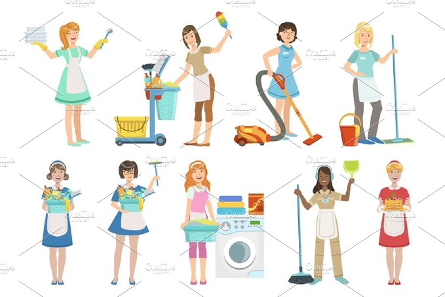 Hotel Professional Maids With Cleaning Equipment Set Of Illustrations in Illustrations - product preview 8