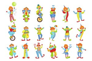 Set Of Colorful Friendly Clowns In Classic Outfits