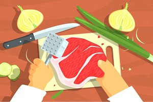 Cooking Of Steak Bright Color Illustrations.