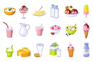 Different Dairy Products Assortment Set Of Isolated Icons