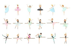 Ballerinas Training In Dance Class Set
