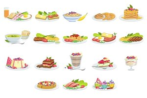 European Cuisine Food Assortment Menu Items Detailed Illustrations