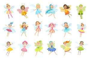 Cute Fairies In Pretty Dresses Girly Cartoon Characters Set
