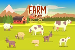 Farm Frenzy Illustration With Field Full Of Animals