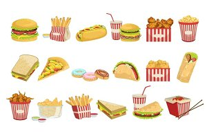 Fast Food Menu Items Realistic Detailed Illustrations