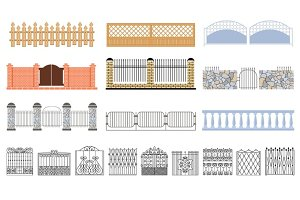 Metal Grid Fencing Set Of Different Designs