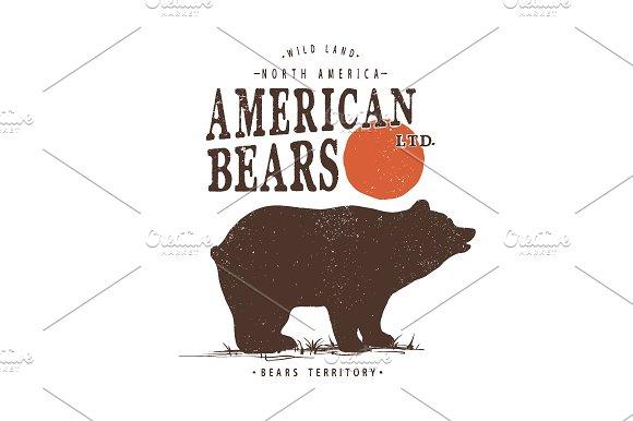 Retro Label With Bear