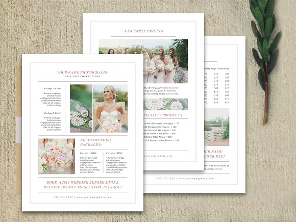 Wedding Pricing Guide Set Brochures