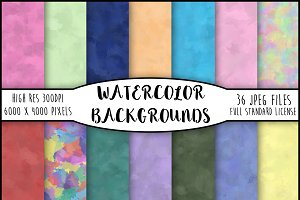 36 Colourful Watercolour Backgrounds