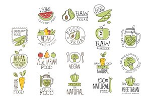 Vegan Raw And Healthy Food Promo Labels Collection