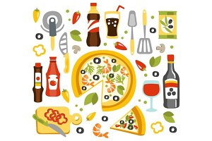 Pizza Preparation Set Of Utensils Illustration