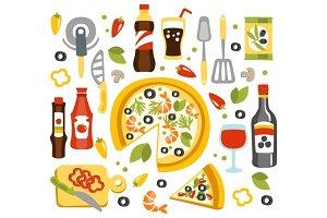 Pizza Preparation Set Of Utensils Illustration