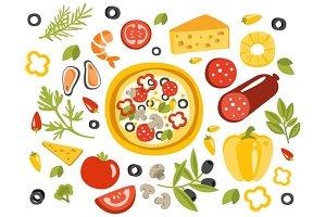 Pizza Preparation Set Of Ingredients Illustration