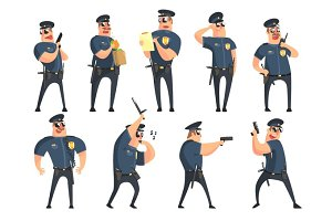 American Policeman Funny Characters Set