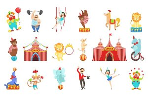 Circus Related Objects And Characters Set