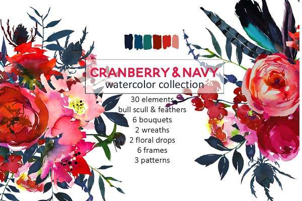 Red Navy Boho Watercolor Flowers