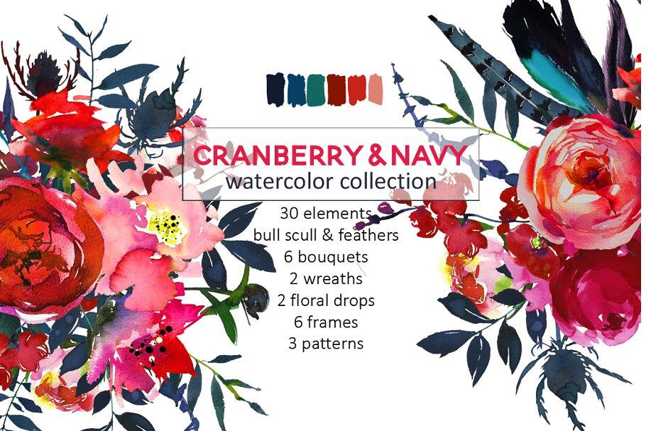 4fb3bbf08 Red Navy Boho Watercolor Flowers ~ Illustrations ~ Creative Market