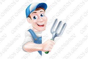 Cartoon Fork Gardener