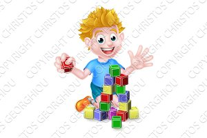 Cartoon Boy Playing With Building Blocks