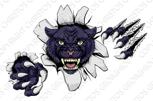 Mean Black Panther Mascot
