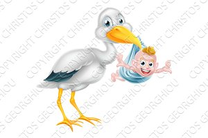 Cartoon Stork Holding New Born Baby