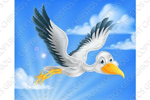 Cartoon stork bird animal character