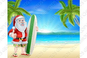 Santa surfer on tropical beach