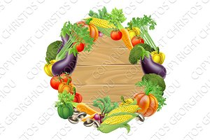 Vegetables Wooden Sign