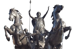 Boadicea monument in London isolated over white