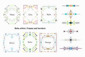 Boho style cards, frames, borders