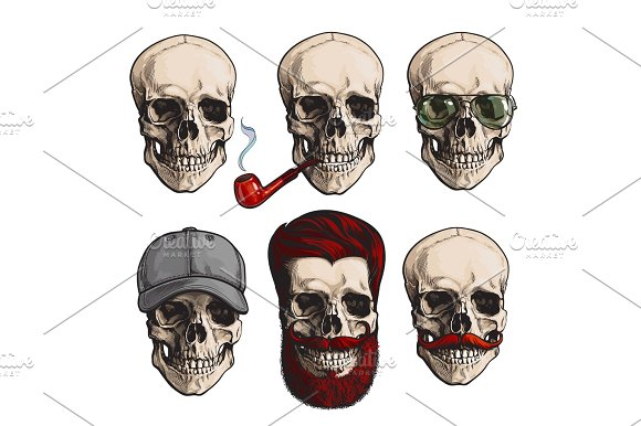 Human Skull Bones With Sunglasses Beard Moustache Smoking Pipe