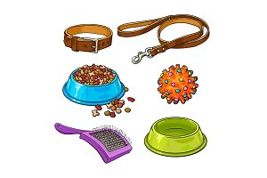 Pet, cat, dog accessories - bowl, collar, leash, rubber ball, hairbrush