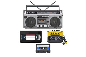 Retro audio cassette, tape recorder, music player, videotape from 90s